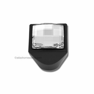 Atlas Homewares Crystal and Pave Collection Square Large Crystal Knob in Black