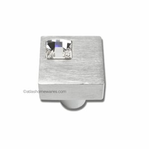 Atlas Homewares Crystal and Pave Collection Square Off Center Crystal Knob in Brushed Aluminum