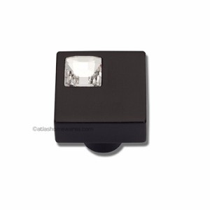 Atlas Homewares Crystal and Pave Collection Square Off Center Crystal Knob in Matte Black
