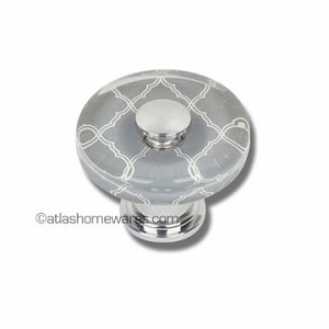 Atlas Homewares Dream Glass Collection: Quatrefoil Glass Round Knob