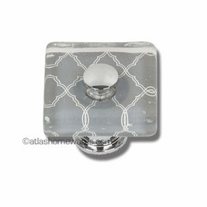 Atlas Homewares Dream Glass Collection: Quatrefoil Glass Square Knob