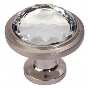 Atlas Homewares Legacy Crystal  Round Knob in Brushed Nickel