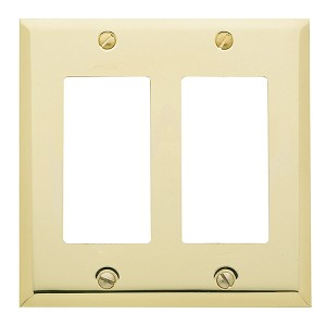 "Baldwin 4741 Beveled Edge Double GFCI Cover Plate - 4.5"" X 4.5"""