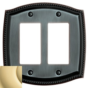 "Baldwin 4797 Rope Double GFCI Cover - 5.375"" X 5.4375"""