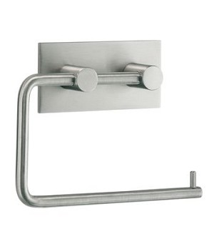Beslagsboden Design Steel Square Base Toilet Roll Holder - Brushed Stainless Steel