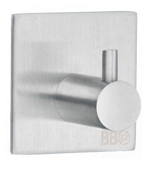 Beslagsboden Design Steel Single Self-Adhesive Square Hook - Brushed Stainless Steel
