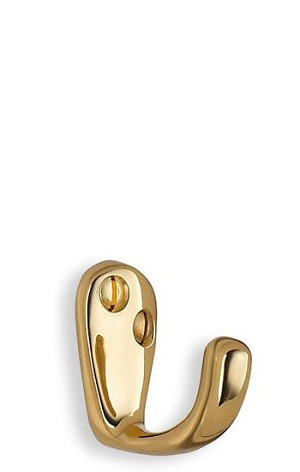 Beslagsboden Classic Basic 1 1/2 Inch Single Coat Hook - Polished Brass