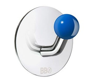 Beslagsboden Design Single Hook - Polished Stainless Steel / Blue Knob