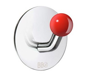 Beslagsboden Design Single Hook - Polished Stainless Steel / Red Knob