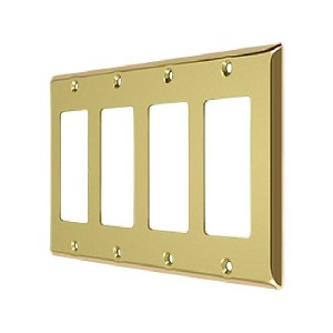 Deltana Solid Brass Quadruple Rocker Switch Plate