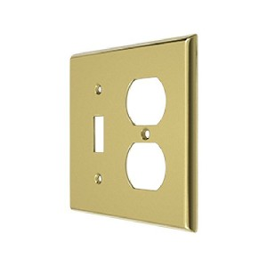 Deltana Solid Brass Single Switch/Double Outlet Switch Plate