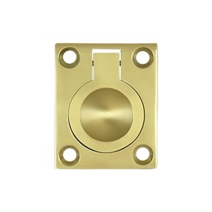 Deltana Solid Brass 1 3/4 x 1 3/8 Inch Flush Ring Pull