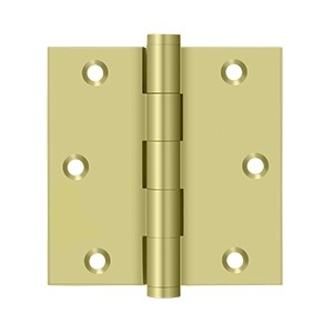 Deltana 3 1/2 x 3 1/2 Inch Solid Brass Square Corner Residential Hinge - Pair
