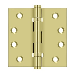 Deltana 4 x 4 Inch Solid Brass Square Corner Standard 2 Ball Bearing Hinge - Pair