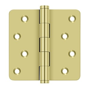 "Deltana 4 x 4 Inch Solid Brass 1/4"" Radius Corner, Residential, Zig-zag Hole Pattern Hinge - Pair"