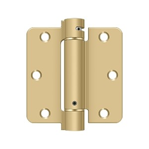 Deltana 3 1/2 x 3 1/2 Inch 1/4 Inch Radius Corner Single Action, Steel Spring Hinge - Each