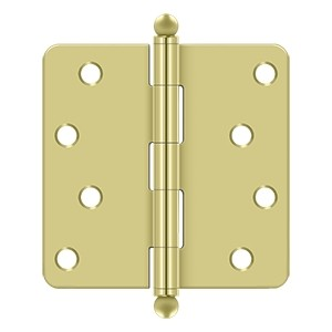 Deltana 4 x 4 Inch 1/4 Inch Radius Corner with Ball Tips Steel Hinge - Pair