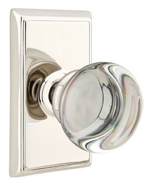 Emtek Providence Crystal Knob with Rectangular Rosette