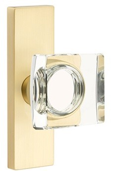 Emtek Square Crystal Door Knob with 1.5 Inch x 5 Inch Stretto Rosette