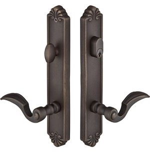 Emtek Configuration 3 Cast Bronze Tuscany 2X10 Multi Point Lock Trim Only