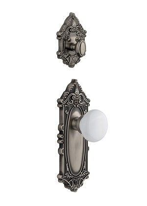 Grandeur Grande Victorian Handleset with Hyde Park Knob - (Interior Half Only, with Deadbolt)