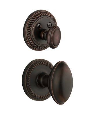 Grandeur Newport Handleset with Eden Prairie Knob - (Interior Half Only, with Deadbolt)