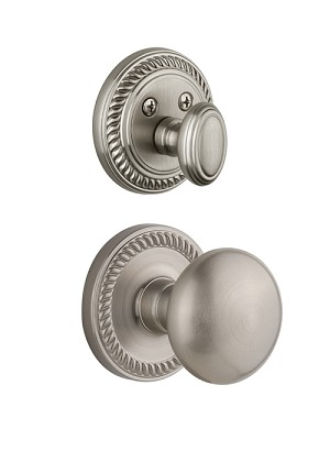 Grandeur Newport Handleset with Fifth Avenue Knob - (Interior Half Only, with Deadbolt)