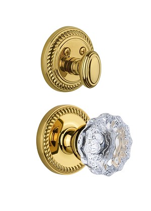 Grandeur Newport Handleset with Fontainebleau Knob - (Interior Half Only, with Deadbolt)