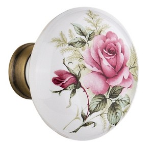 Nostalgic Warehouse White/Rose Porcelain Knobs ONLY with Spindle
