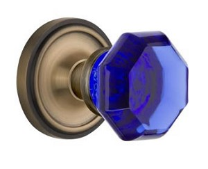 Nostalgic Warehouse Classic Rose with Cobalt Waldorf Crystal Knob