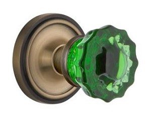 Nostalgic Warehouse Classic Rose with Emerald Crystal Knob