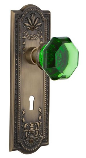 Nostalgic Warehouse Meadows Plate with Emerald Waldorf Knob