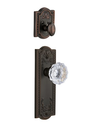 Grandeur Parthenon Handleset with Fontainebleau Knob - (Interior Half Only, with Deadbolt)