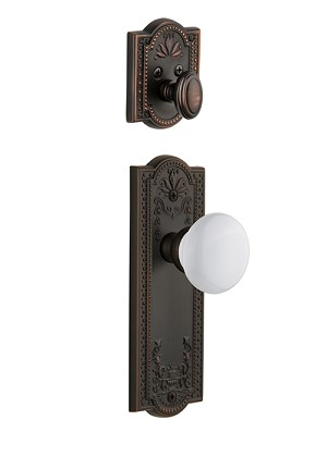 Grandeur Parthenon Handleset with Hyde Park Knob - (Interior Half Only, with Deadbolt)