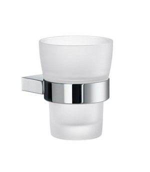 Smedbo AIR Holder with Frosted Glass Tumbler - Polished Chrome
