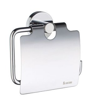 Smedbo Home Collection Toilet Roll Euro Holder with Lid - Polished Chrome
