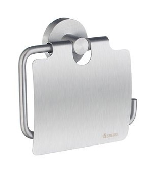 Smedbo Home Collection Toilet Roll Euro Holder with Lid - Brushed Chrome