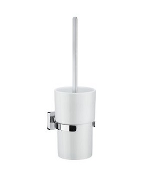 Smedbo Ice Toilet Brush and Porcelain Container - Polished Chrome