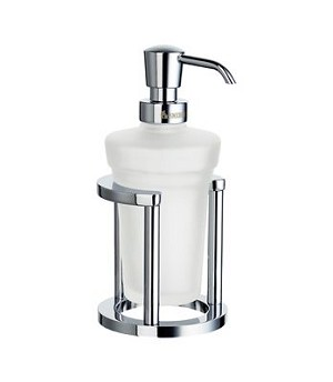 Smedbo Outline Collection Glass Soap Dispenser with Holder - Polished Chrome