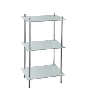 Smedbo Outline Collection Free Standing Shelf  (Three Shelves) - Polished Chrome