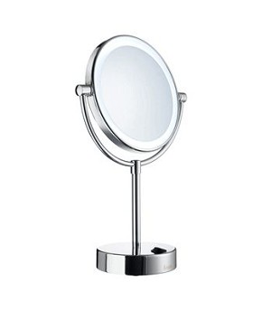 Smedbo Outline Collection Circular Free Standing Mirror With Light - Polished Chrome