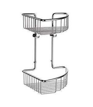 Smedbo Sideline Collection Basic Two Level 8 1/4 Inch Corner Soap Basket - Polished Chrome