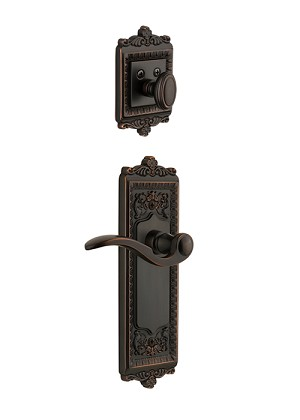 Grandeur Windsor Handleset with Bellagio Lever - (Interior Half Only, with Deadbolt)