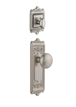 Grandeur Windsor Handleset with Fifth Avenue Knob - (Interior Half Only, with Deadbolt)