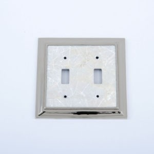 Century Double Toggle Switchplate - White Mother of Pearl/Polished Nickel
