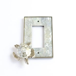 Century Single Rocker Switchplate w/ Sea Turtle - White Mother of Pearl/Polished Nickel