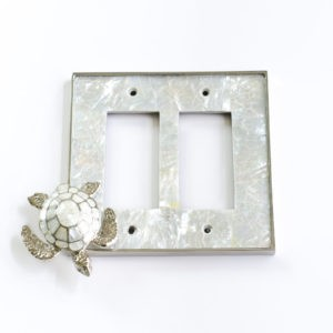 Century Double Rocker Switchplate w/ Sea Turtle - White Mother of Pearl/Polished Nickel