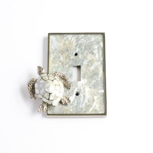 Century Single Toggle Switchplate w/ Sea Turtle - White Mother of Pearl/Polished Nickel