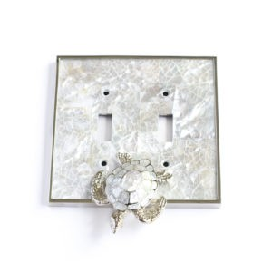Century Double Toggle Switchplate w/ Sea Turtle - White Mother of Pearl/Polished Nickel