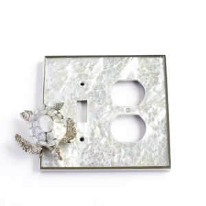 Century Toggle/Duplex Receptacle Switchplate w/ Sea Turtle - White Mother of Pearl/Polished Nickel